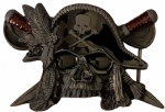Pirate Skull ,,Hat and Cutlass Belt Buckle + display stand. Code AO7